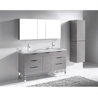 "Madeli Milano 60"" Double Bathroom Vanity for X-Stone Integrated Basins - Ash Grey B200-60-002-AG-XSTONE"
