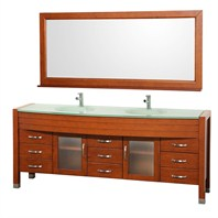 "Daytona 78"" Double Bathroom Vanity Set by Wyndham Collection - Cherry WC-A-W2200-78-CH"