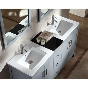 Ariel Hanson 60 Double Sink Vanity Set With Black Granite Countertop