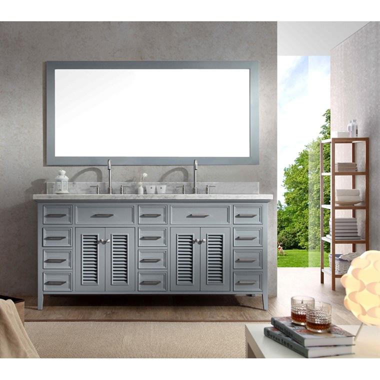 "Ariel Kensington 73"" Double Sink Vanity Set with Carrera White Marble Countertop - Grey D073D-GRY"