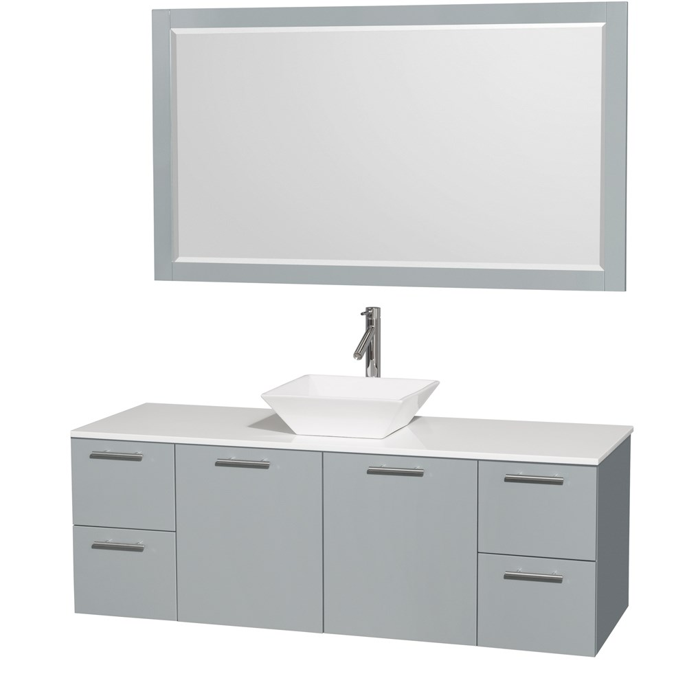 "Amare 60"" Wall-Mounted Single Bathroom Vanity Set with Vessel Sink by Wyndham Collection - Dove Graynohtin Sale $1399.00 SKU: WC-R4100-60-DVG-SGL :"