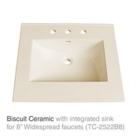 "25"" Biscuit Top with integrated sink - Ceramic (For 3-Hole Faucets) TC-2522B8"