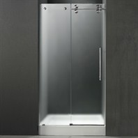 "VIGO 48-inch Frameless Shower Door 3/8"" Frosted/Stainless Steel Hardware Right with White Base - Center Drain VG6041STMT48RWS"