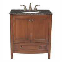 "Stufurhome 32"" Stufurhome Single Sink Bathroom Vanity with Baltic Brown Granite Top - Dark Wood Finish GM-2205-32-BB"