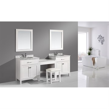 """Design Element London Two 30"""" Single Vanities with Make-Up Table, White DEC076E-WX2_MUT-W by Design Element"""