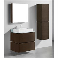 "Madeli Cube 30"" Wall-Mounted Bathroom Vanity for Glass Counter and Porcelain Basin - Walnut B500-30-002-WA-GLASS"