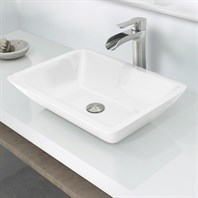 "Vigo 18"" Flat-edged Rectangular Phoenix Stone Vessel Bathroom Sink - White VG07106"
