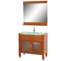 "Daytona  36"" Bathroom Vanity with Mirror - Cherry w/ Green Glass Counter"