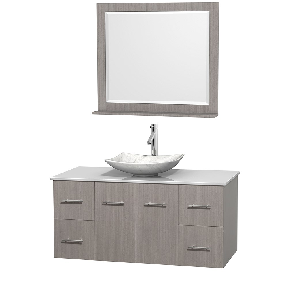 "Centra 48"" Single Bathroom Vanity for Vessel Sink by Wyndham Collection - Gray Oak WC-WHE009-48-SGL-VAN-GRO_"