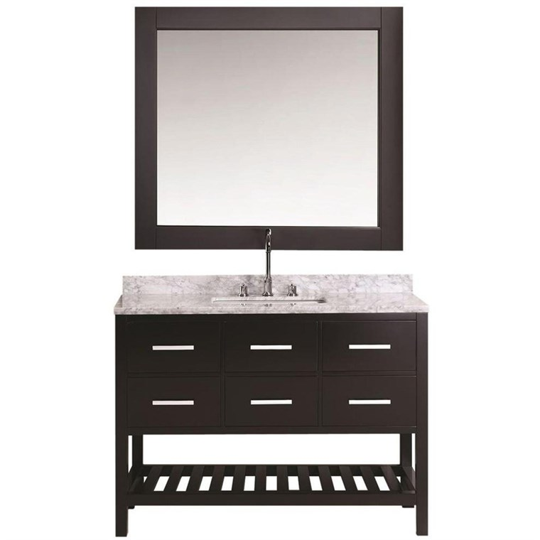 "Design Element London Cambridge 54"" Single Sink Vanity Set - Espresso DEC077H-E-WT"