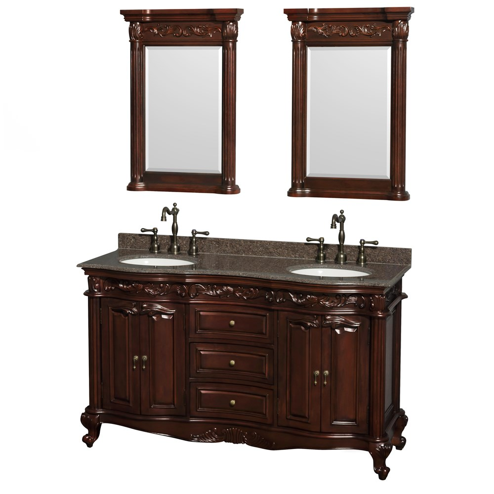 Edinburgh 60 Double Bathroom Vanity By Wyndham Collection Cherry Free Shipping Modern Bathroom