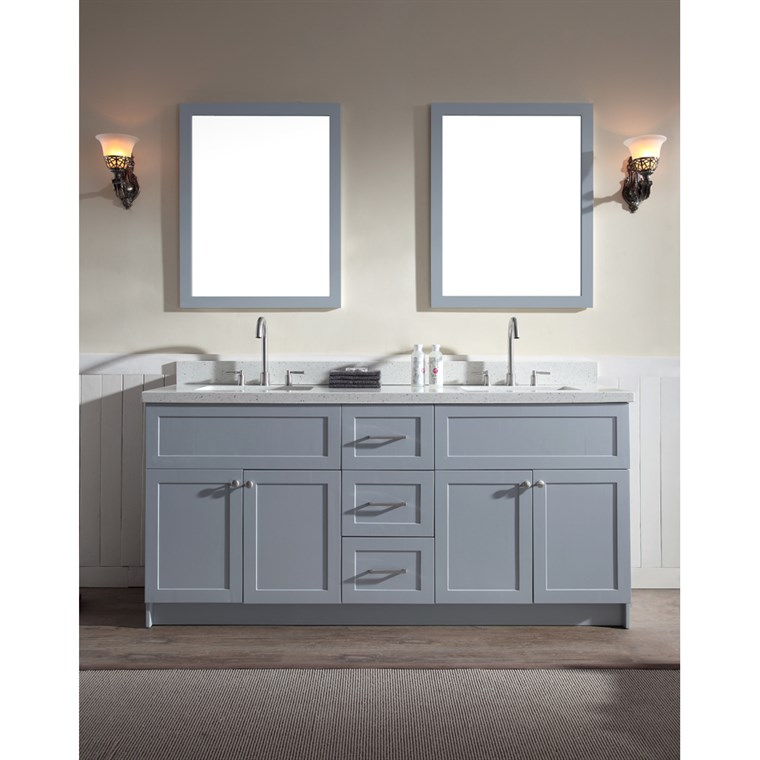 "Ariel Hamlet 73"" Double Sink Vanity Set with White Quartz Countertop in Grey F073D-WQ-GRY"