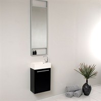 Fresca Pulito Small Black Modern Bathroom Vanity with Tall Mirror FVN8002BW
