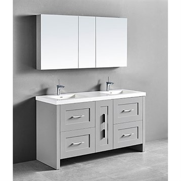 "Madeli Retro 60"" Double Bathroom Vanity for Integrated Basin, Whisper Grey B700-60D-001-WG by Madeli"