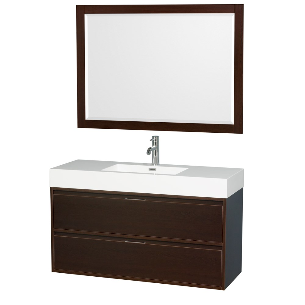 "Daniella 48"" Wall-Mounted Bathroom Vanity Set With Acrylic Resin Countertop, Integrated Sink and 46"" Mirror - Espresso WCR460048SESARINTM46"