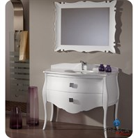 "Fresca Platinum Paris 45"" Glossy White Bathroom Vanity with Swarovski Handles FPVN7516WH"