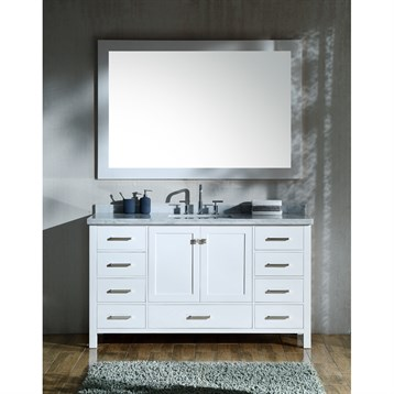 """Ariel Cambridge 61"""" Single Sink Vanity Set With Rectangle Sink And Carrara White Marble Countertop - White"""