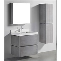 "Madeli Cube 30"" Wall-Mounted Bathroom Vanity for Quartzstone Top - Ash Grey B500-30-002-AG-QUARTZ"