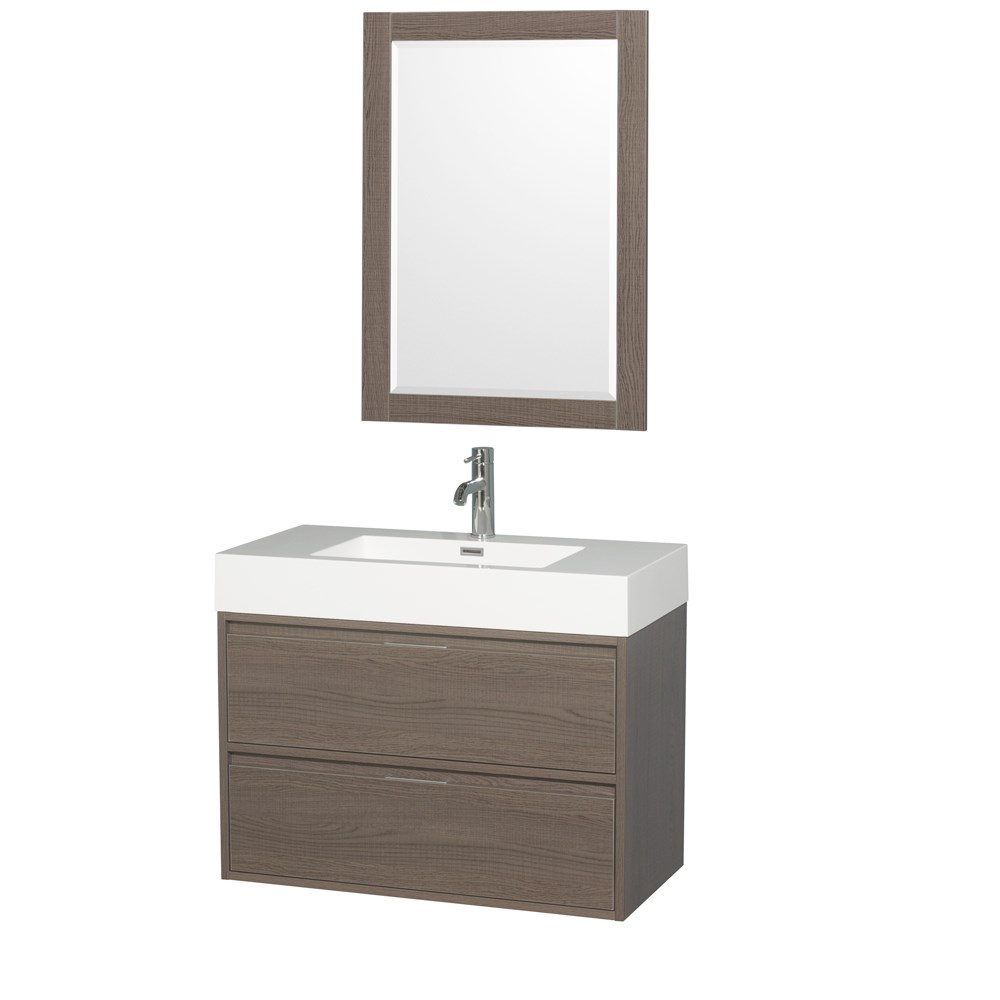 "Daniella 36"" Wall-Mounted Bathroom Vanity Set With Integrated Sink by Wyndham Collection - Gray Oak WC-R4600-36-VAN-GRO"