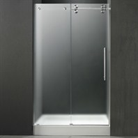 "VIGO 48-inch Frameless Shower Door 3/8"" Frosted/Chrome Hardware Right with White Base - Center Drain VG6041CHMT48RWM"