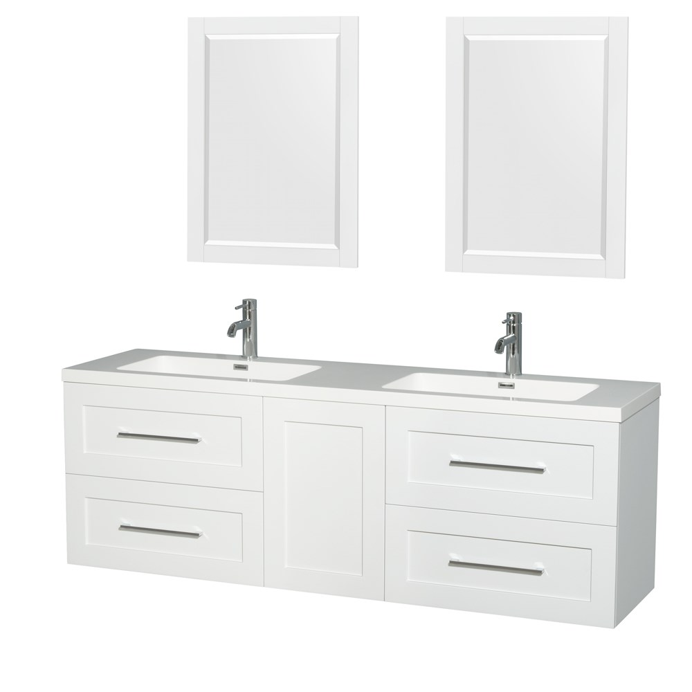"Olivia 72"" Wall-Mounted Double Bathroom Vanity Set With Integrated Sinks by Wyndham Collection - Glossy White WC-R4500-72-VAN-WHT"