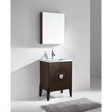 """Madeli Genova 24"""" Bathroom Vanity with Quartzstone Top, Walnut B922-24-001-WA-QUARTZ by Madeli"""