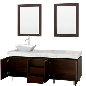 Malibu 72 Single Bathroom Vanity Set By Wyndham Collection Espresso Finish With White Carrara