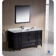 "Fresca Oxford 60"" Traditional Bathroom Vanity with 2 Side Cabinets - Espresso FVN20-123612ES"