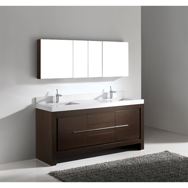"Madeli Vicenza 72"" Double Bathroom Vanity with Quartzstone Top - Walnut B999-72D-001-WA-QUARTZ"