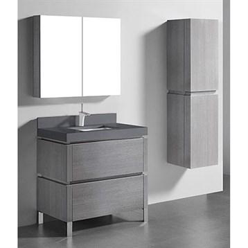 "Madeli Metro 36"" Bathroom Vanity for Quartzstone Top, Ash Grey B600-36-001-AG-QUARTZ by Madeli"