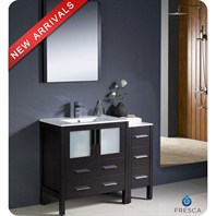 "Fresca Torino 42"" Espresso Modern Bathroom Vanity with Side Cabinet & Integrated Sink FVN62-3012ES-UNS"