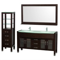 "Daytona 60"" Double Bathroom Vanity Set by Wyndham Collection - Espresso WC-A-W2200-60-ESP-SET-"