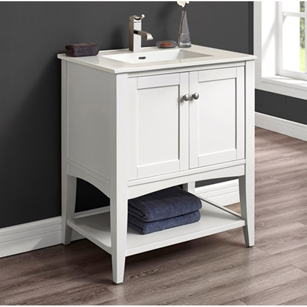 "Fairmont Designs Shaker Americana 30"" Vanity - Open Shelf for Integrated Top - Polar White 1512-VH30-"