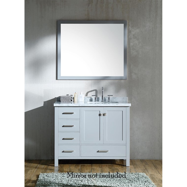 "Ariel Cambridge 43"" Single Sink Vanity with Right Offset Rectangle Sink and White Carrara Marble Countertop - Grey A043SRCWRVOGRY"