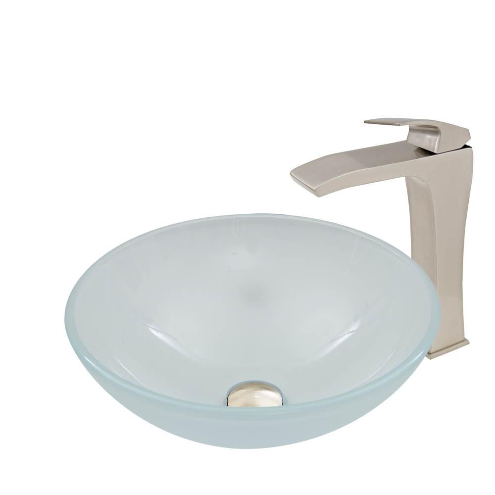 VIGO White Frost Glass Vessel Sink and Blackstonian Faucet Setnohtin Sale $245.90 SKU: VGT909- :