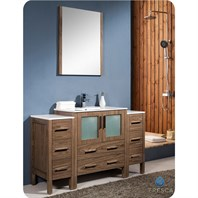 "Fresca Torino 54"" Walnut Brown Modern Bathroom Vanity with 2 Side Cabinets & Integrated Sink FVN62-123012WB-UNS"