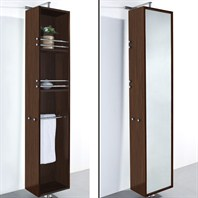 April Rotating Floor Cabinet with Mirror by Wyndham Collection - Zebrawood WC-V202-ZEBRA