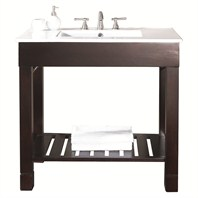 "Loft 37"" Single Modern Bathroom Vanity Set - Dark Walnut"