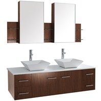 "Bianca 60"" Wall-Mounted Double Bathroom Vanity - Zebrawood WHE007-60-ZEBRA-DBL"