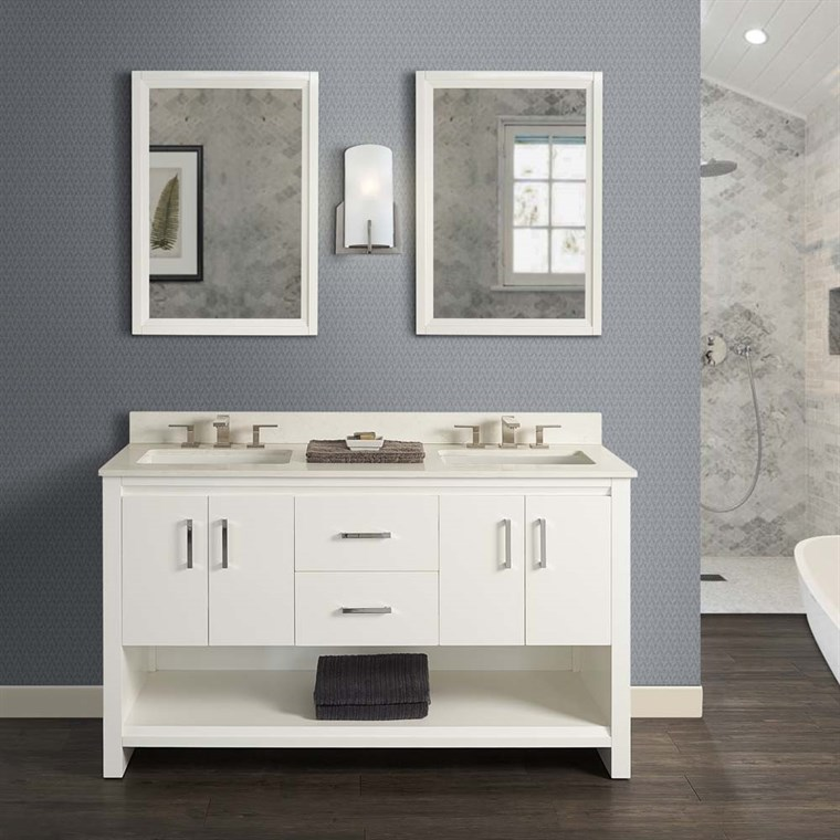 "Fairmont Designs Studio One 60"" Double Bowl Vanity - Glossy White 1517-V6021D"