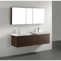 "Madeli Venasca 60"" Double Bathroom Vanity - Walnut 2X-B990-24-002-WA, UC990-12-007-WA"
