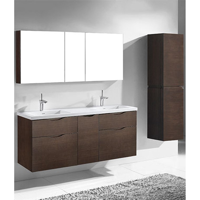 "Madeli Bolano 60"" Double Bathroom Vanity for Integrated Basin - Walnut B100-60D-022-WA"