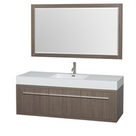 "Axa 60"" Wall-Mounted Single Bathroom Vanity Set With Integrated Sink by Wyndham Collection - Gray Oak WC-R4300-60-VAN-GRO-SGL"