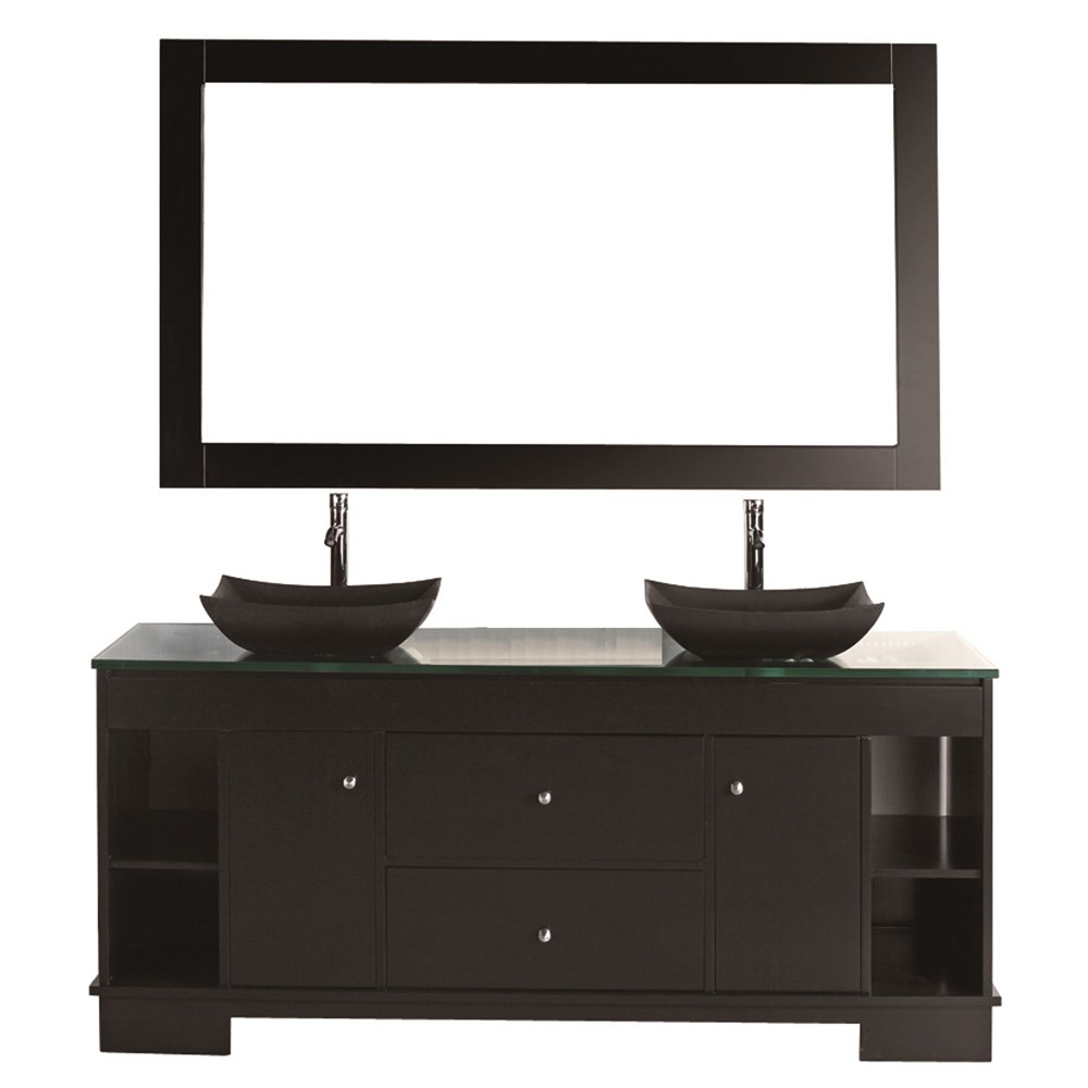 "Design Element Oasis 60"" Double Sink Vanity Set - Espressonohtin Sale $2399.00 SKU: DEC105-60 :"