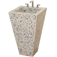 Eclipse Custom Bathroom Pedestal Vanity by Wyndham Collection - Chivalry Blue Vetrazzo®