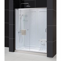"Bath Authority DreamLine Infinity-Z Frameless Sliding Shower Door, Single Threshold Shower Base and QWALL-5 Shower Backwalls Kit (32"" by 60"") DL-6117"