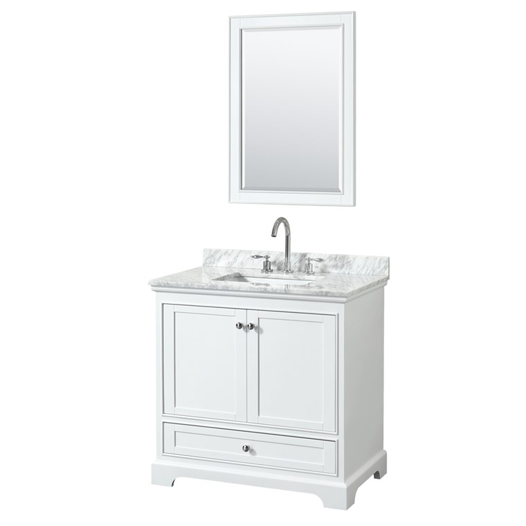 "Deborah 36"" Single Bathroom Vanity by Wyndham Collection - White WC-2020-36-SGL-VAN-WHT"