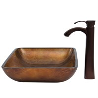 VIGO Rectangular Russet Glass Vessel Sink and Otis Faucet Set in Oil Rubbed Bronze VGT301
