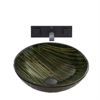 VIGO Green Asteroid Glass Vessel Sink and Titus Wall Mount Faucet Set in Antique Rubbed Bronze Finish VGT846