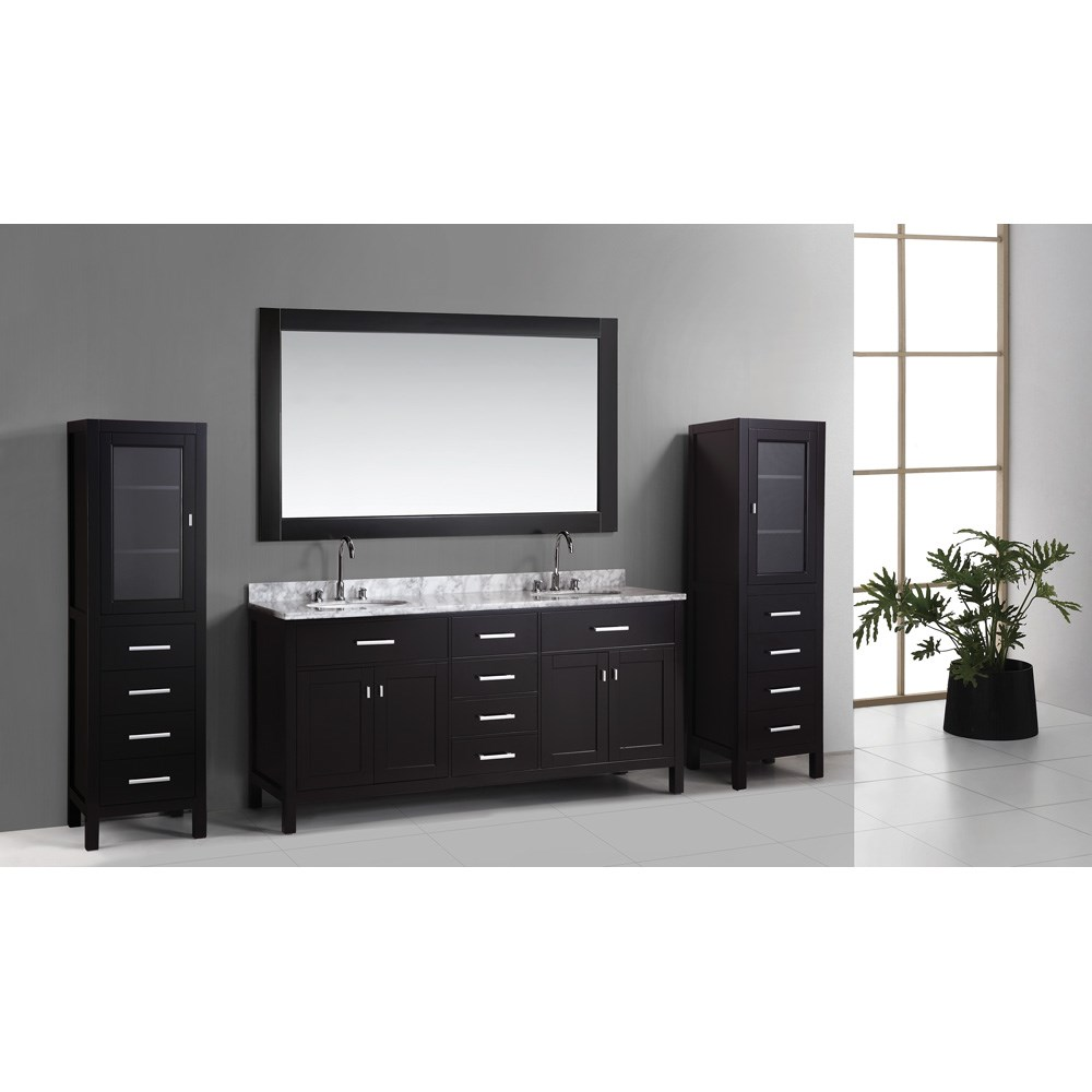"Design Element London 72"" Double Vanity Set with 2 Linen Cabinets - Espressonohtin Sale $2399.00 SKU: DEC076B_CAB004X2 :"